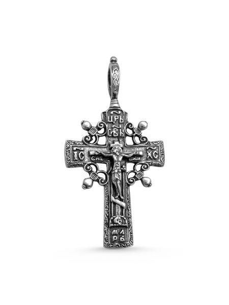 """Серебряный нательный крест """"Распятие Христово"""" с молитвой"""