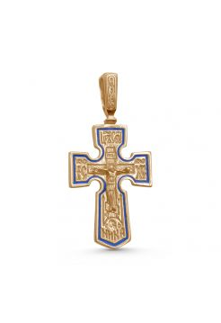 """Позолоченный нательный крест """"Распятие Христово"""" с молитвой"""