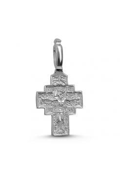 """Серебряный нательный крест """"Распятие Христово и Святая Матрона"""" с молитвой"""
