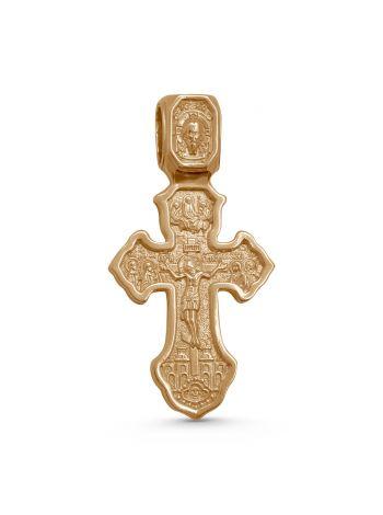 """Фото - Позолоченный нательный крест """"Спаситель и Господь Вседержитель, Ангел Хранитель"""" с молитвой"""