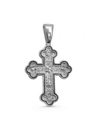 """Нательный крест  """"Распятие Христово"""" с избранными святыми и молитвой серебряный"""