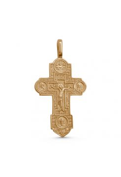"""Нательный крест  """"Распятие Христово"""" с избранными святыми позолоченный"""