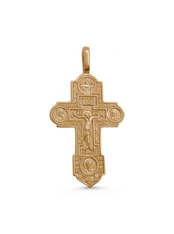 """Фото - Нательный крест  """"Распятие Христово"""" с избранными святыми позолоченный"""