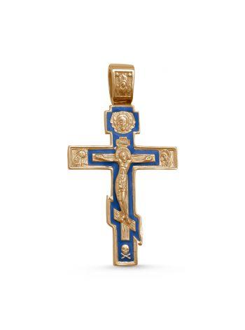 """Нательный крест """"Распятие Христово"""" с молитвой (арт. 3-255з эм)"""