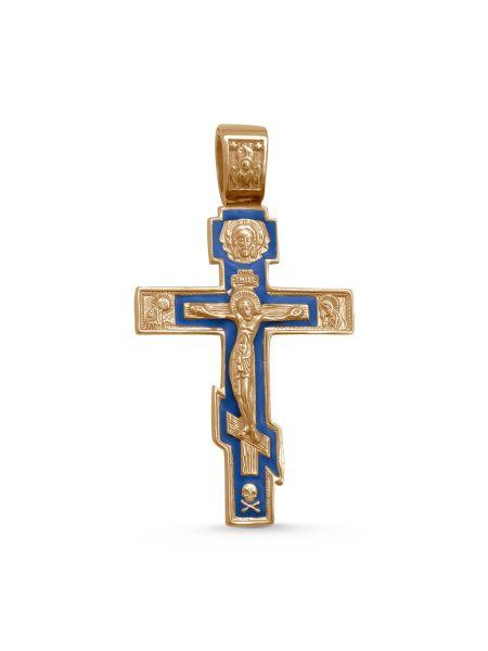 """Нательный крест позолоченный """"Распятие Христово"""" с молитвой"""