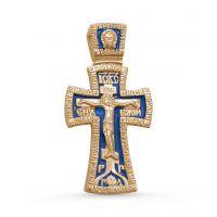 """Нательный крест с молитвой """"Распятие Христово и Ангел Хранитель"""" позолоченный"""