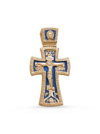 """Фото - Нательный крест с молитвой """"Распятие Христово и Ангел Хранитель"""" позолоченный"""