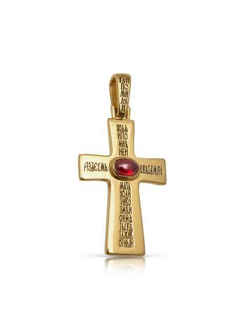 Фото - Нательный крест с кабошоном и молитвами с вставкой граната