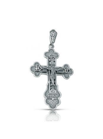 """Нательный крест с Распятием и молитвой """"Спаси и сохрани"""" (арт. з-135 ч)"""