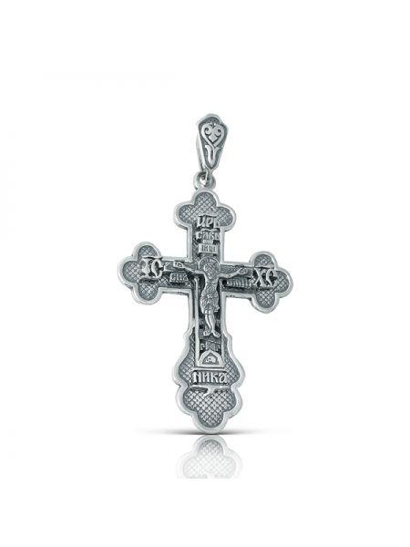 """Нательный серебряный крест с Распятием и молитвой """"Спаси и сохрани"""""""