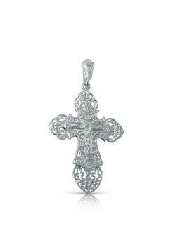 Нательный крест с Распятием  и Ангелом Хранителем и фианитом