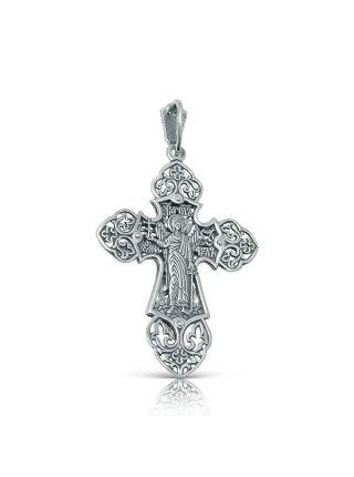 Нательный крест с Распятием и Ангелом Хранителем с фианитом