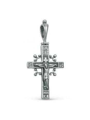 """Фото - Нательный серебряный крестик """"Распятие Христово"""" с молитвой"""