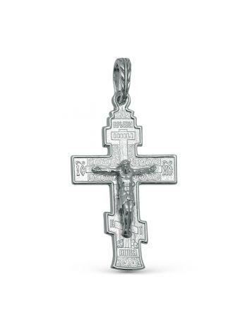 """Фото - Нательный крест из серебра """"Распятие Христово"""" с молитвой"""