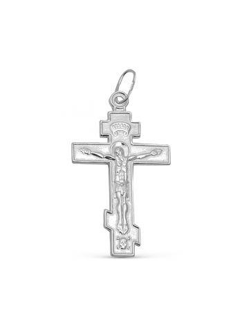 """Фото - Православный нательный крест """"Распятие Христово"""" с молитвой серебряный"""