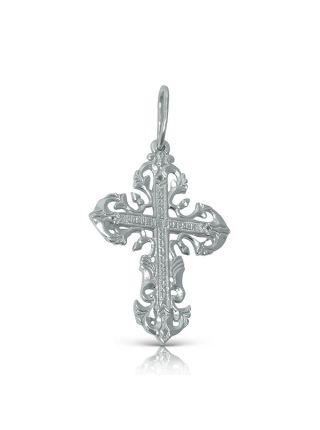 """Нательный крест с Распятием и молитвой с фианитом """"Спаси и сохрани"""""""
