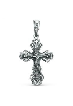 """Нательный серебряный крест """"Распятие Христово"""" с молитвой"""