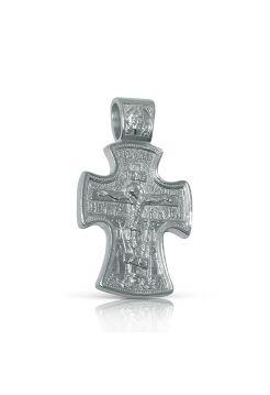 Нательный крест с Распятием и образом Св. Николая Чудотворца из серебра