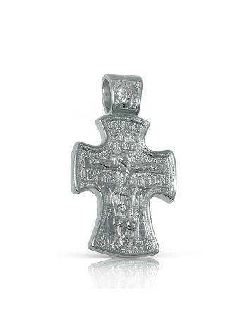 Фото - Нательный крест с Распятием и образом Св. Николая Чудотворца из серебра