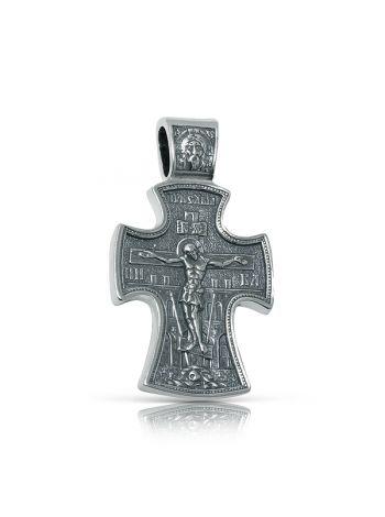 Фото - Нательный крест с Распятием и образом Св. Николая Чудотворца серебряный