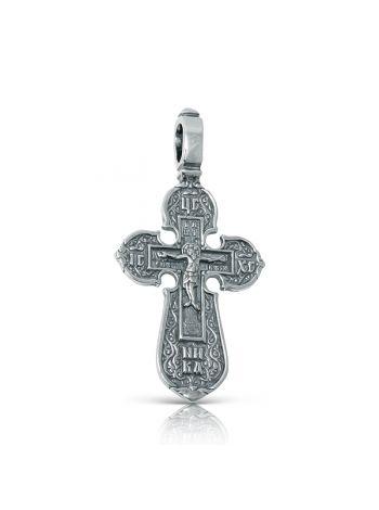 Фото - Нательный крест с Распятием и образом Николая Чудотворца из серебра