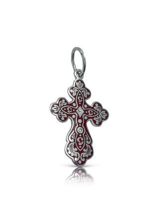 Нательный крест с Распятием (арт. Э20118 красный)