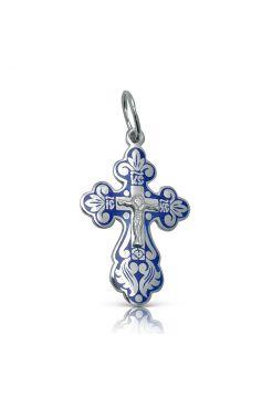 Серебряный нательный крест с Распятием с синий эмалью