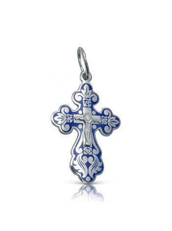 Фото - Серебряный нательный крест с Распятием с синий эмалью