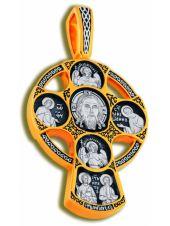 Нательный крест «Спас Нерукотворный с избранными святыми» (арт. КСЧЗ 5128)