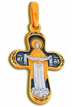 Нательный крест с образом «Покрова Пресвятой Богородицы» малый