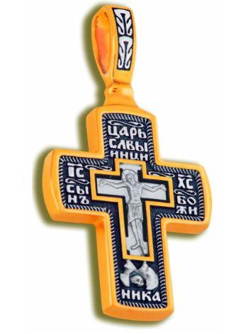 Нательный крест с Распятием и образом Св. Николая Чудотворца (арт. КСЧЗ 3519)