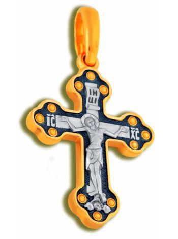 Фото - Нательный крест «Распятие Христово» с молитвой позолоченный