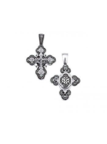 Фото - Нательный крест с Распятием и молитвой «Спаси и сохрани» с орнаментами