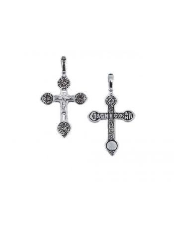 Нательный крест с Распятием и молитвой «Спаси и сохрани» (арт. КС142)