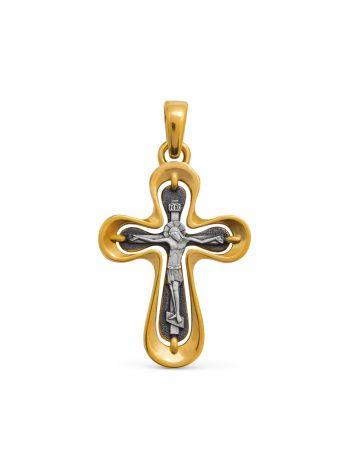 Фото - Нательный крест «Каплевидный» с Распятием из серебра