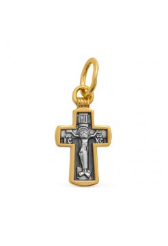"""Нательный крест  """"Распятие Христово. Да Воскреснет Бог"""" позолоченный"""