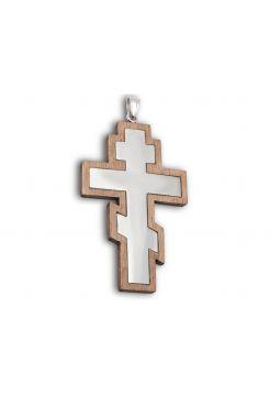 Нательный крест из дерева и серебра