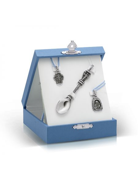 Подарочный набор на крестины для мальчика (арт. n20505 синий)