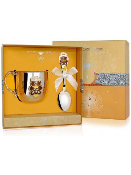 Набор детского серебра «Мишка» (арт. 483КР05008,  442ЛЖ05008)