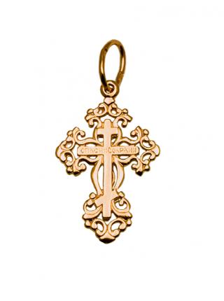 """Православный крест золотой """"Распятие Христово"""" с молитвой"""