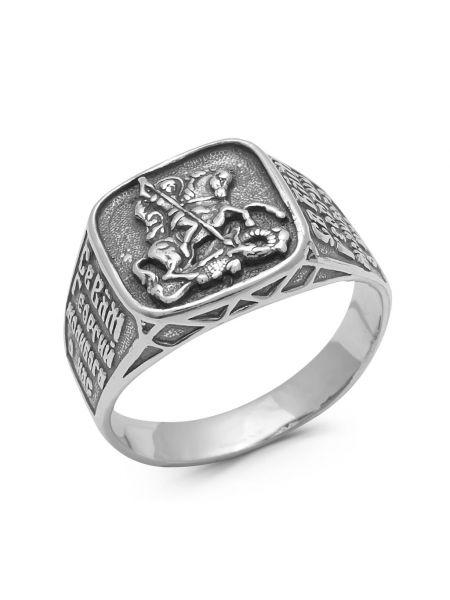 Кольцо с молитвой «Св. Георгий Победоносец, моли Бога о нас» (арт. 1-120 ч)