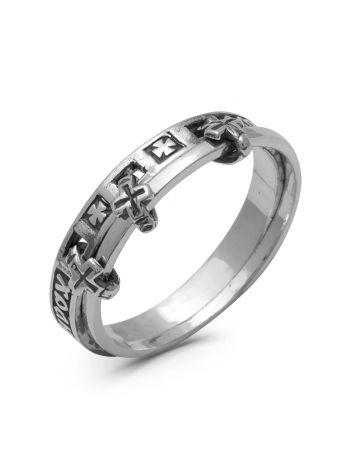 Фото - Двойное кольцо с молитвой «Спаси и сохрани» (арт. 1-099 ч)