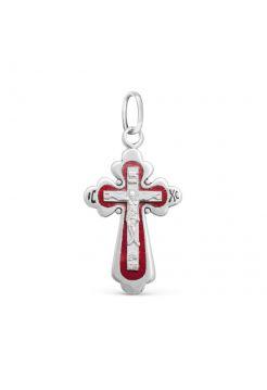 """Нательный крест """"Распятие Христово"""" с красной эмалью"""