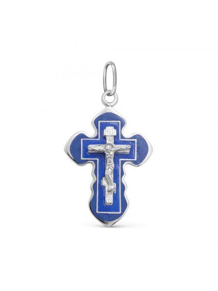 """Нательный крест """"Распятие Христово"""" с синий эмалью"""