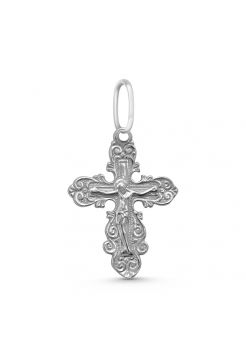 """Нательный крестик из серебра """"Распятие Христово"""" с молитвой"""