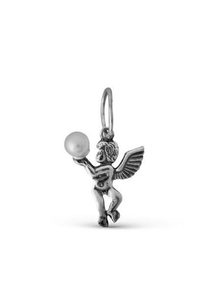 Серебряная подвеска с жемчугом (арт. 3-211 ч)