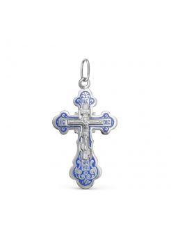 Нательный крест с Распятием и молитвой «Спаси и сохрани» с синий эмалью