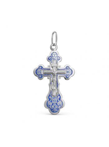Фото - Нательный крест с Распятием и молитвой «Спаси и сохрани» с синий эмалью