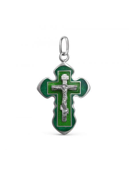 Нательный крест с Распятием и молитвой «Спаси и сохрани» с зеленой эмалью