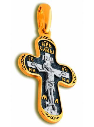 """Нательный крест """"Пантелеймон Целитель"""" малый с позолотой"""